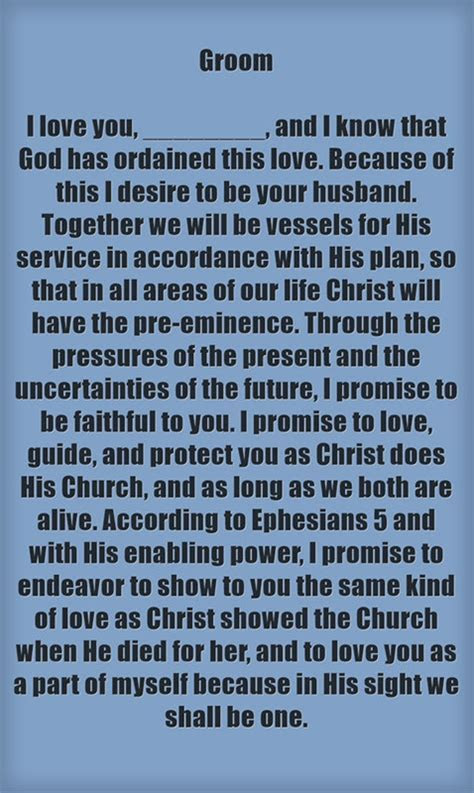 Christian Wedding Vows Examples for Groom and Bride