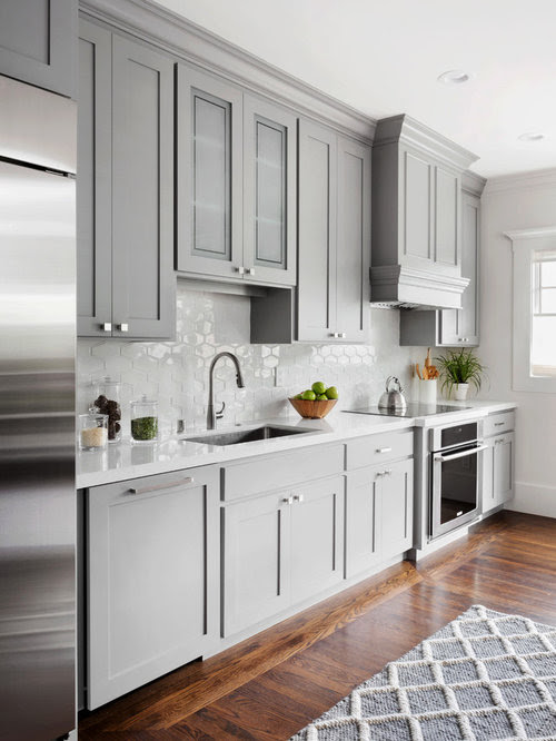 Kitchen with Gray Cabinets Design Ideas Remodel Pictures
