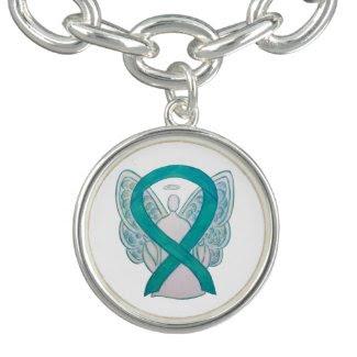 Teal Awareness Ribbon Angel Charm Bracelet Jewerly