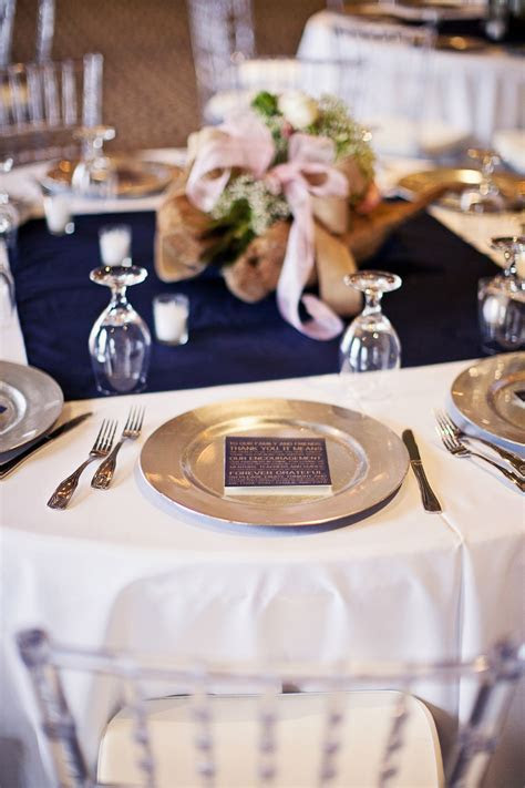 Wedding reception table design. Blush/Navy color scheme