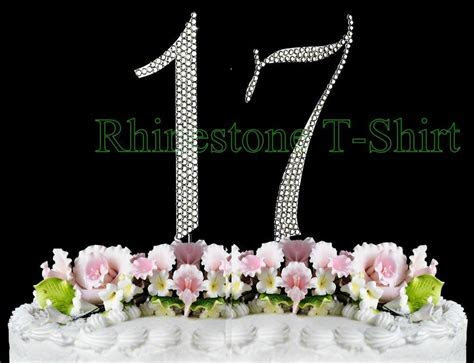 Large Rhinestone Cake Topper NUMBER (17) WEDDING 17th