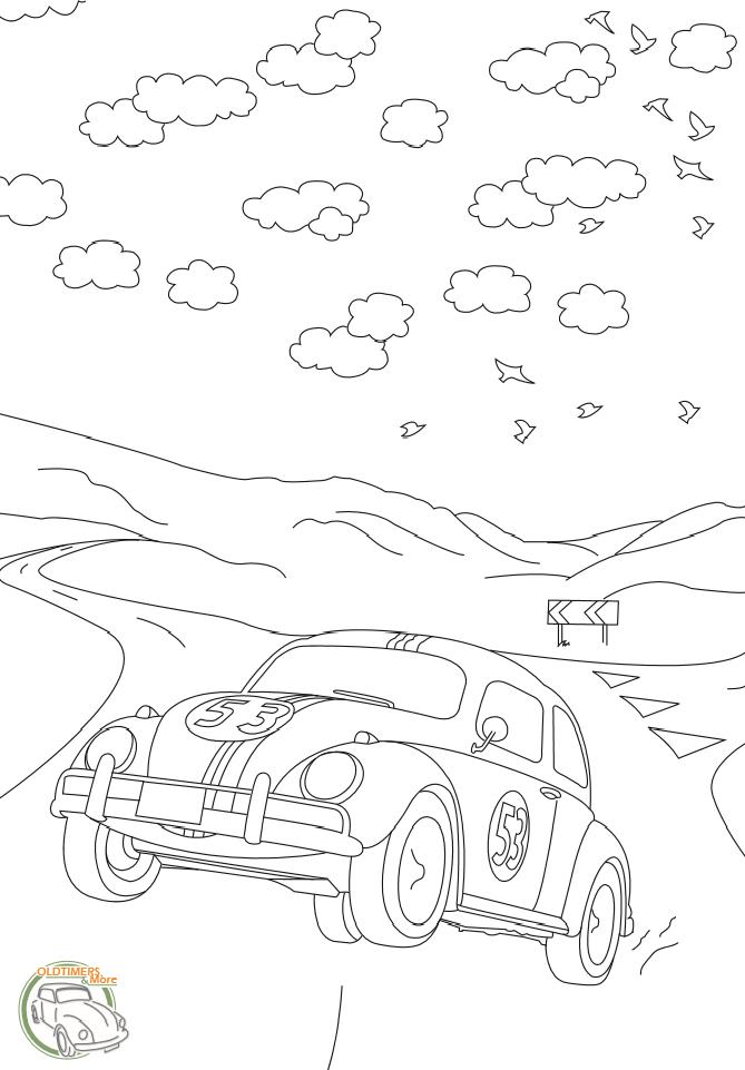 kleurplaat auto kever