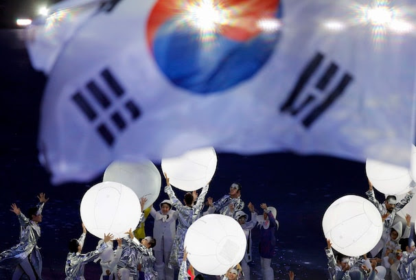 Members of a South Korean contingent representing the next Olympic host city of Pyeongchang perform during the closing ceremony for the 2014 Sochi Winter Olympics, February 23, 2014.               REUTERS/Issei Kato (RUSSIA  - Tags: OLYMPICS SPORT)