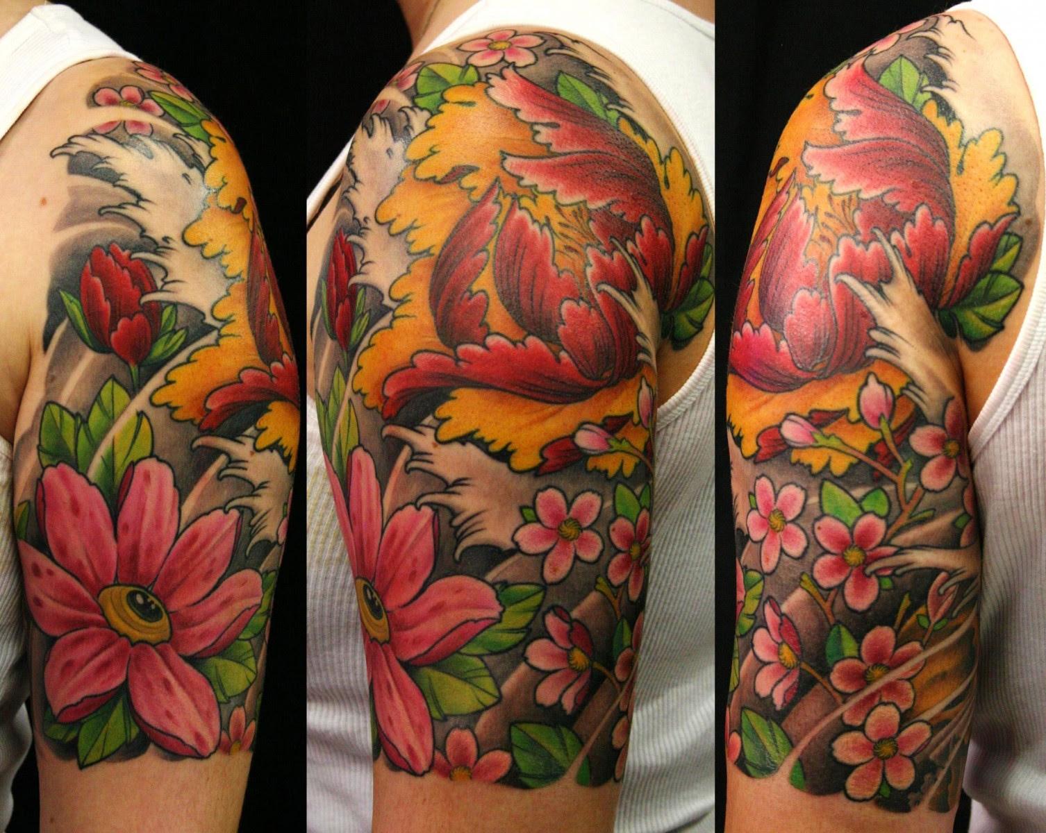 Color Flowers Japanese Tattoo On Right Half Sleeve