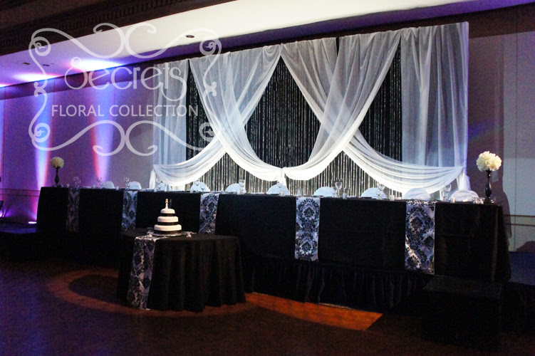 A Black And White Damask Wedding Reception Decoration Toronto