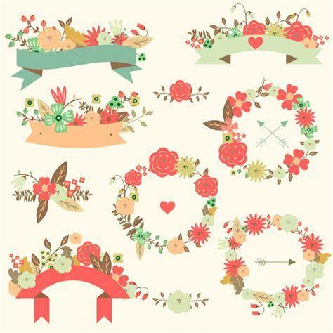 Floral vector wedding ribbon pattern set   Free download