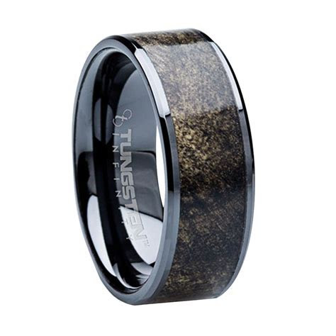 8 mm Unique Mens Wedding Bands   Titanium & Buckeye Wood