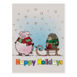 Pig and hedgehog with scarfs postcard
