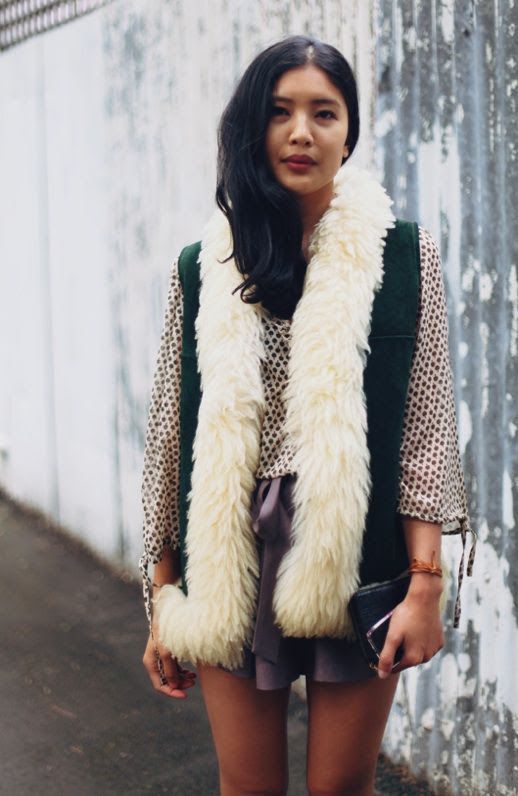 WE THE PEOPLE STREET STYLE SHEARLING VEST SILK SHORTS SKIRT POLA DOTS SUEDE