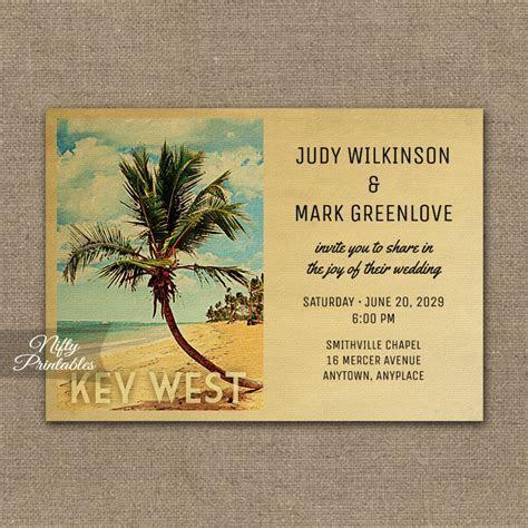 Key West Wedding Invitation Palm Tree PRINTED   Nifty