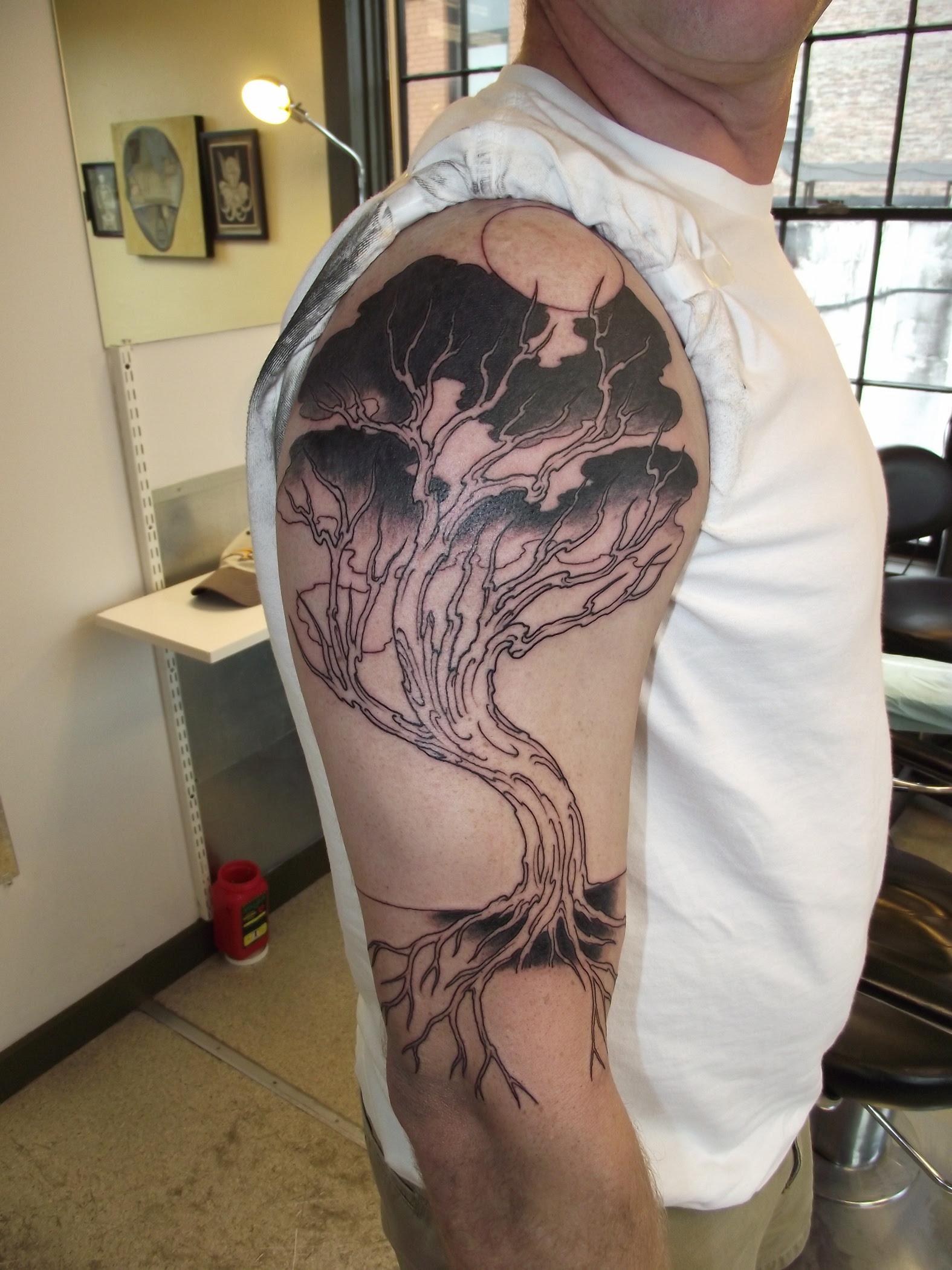 Wonderful Shoulder Black Tree Tattoo Tattoomagz