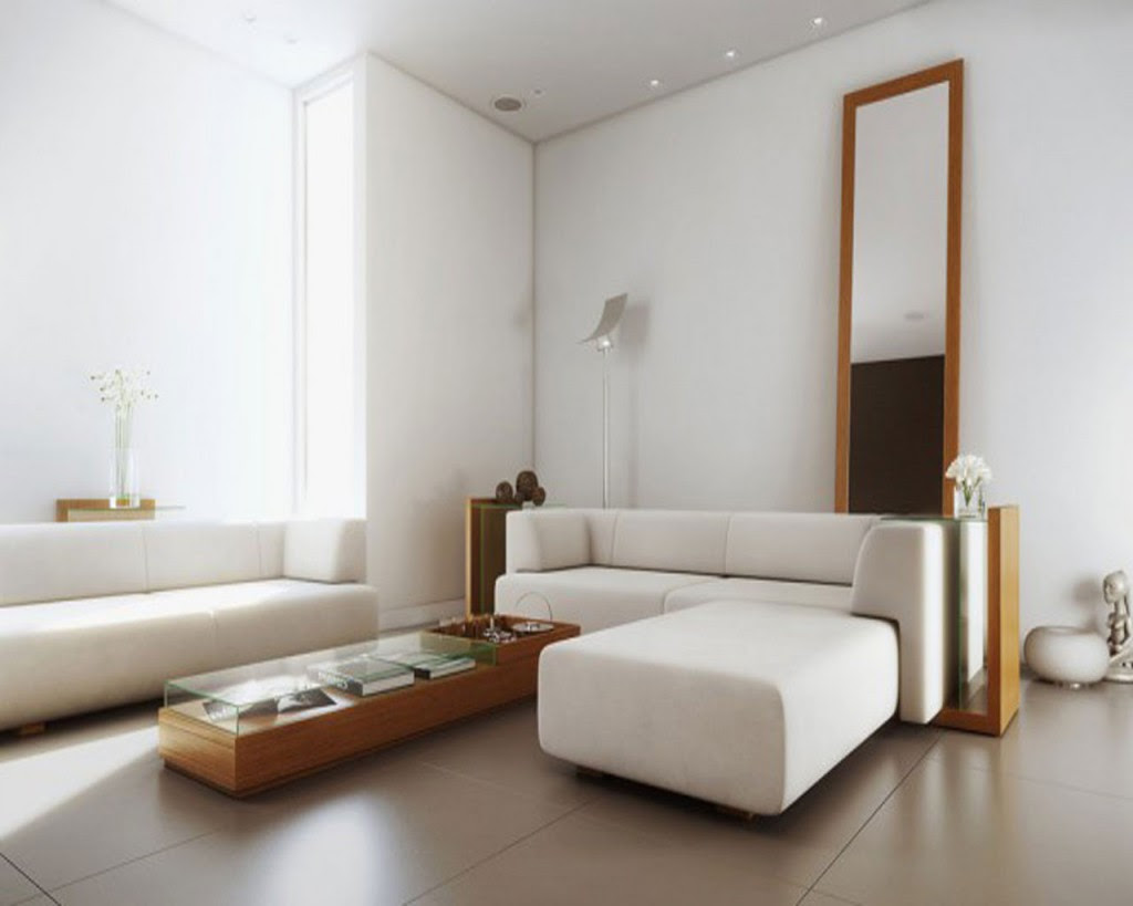 gorgeous white simple interior design with white sofa and day bed and rectangle coffee table and wall mirror and wooden floor