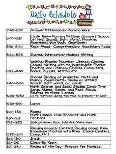 Mrs. Wills Kindergarten schedule- can I tweak it and make it work ...