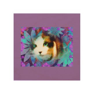 snowshoe field of flowers kitty wood wall art