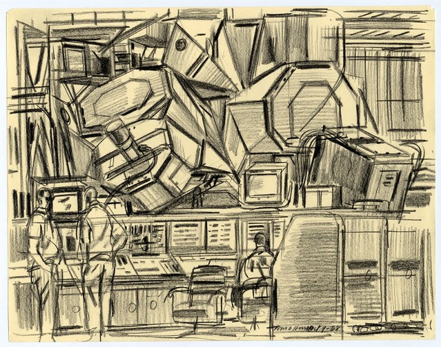 abstract cubist-esque sketch of flight control room in front of modular space vehicle