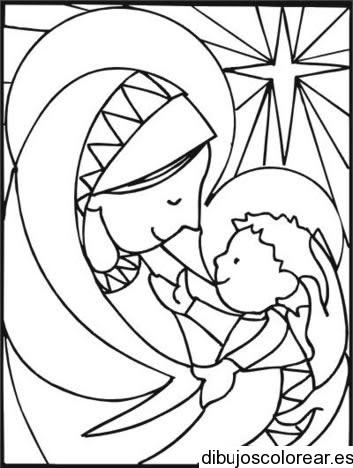 Dibujo Del Nino Jesus Y La Virgen