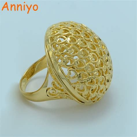 Anniyo African Big Ring for Women/Men Gold Color Ethiopian