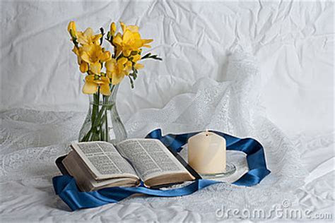 Open Bible And Flowers Royalty Free Stock Image   Image