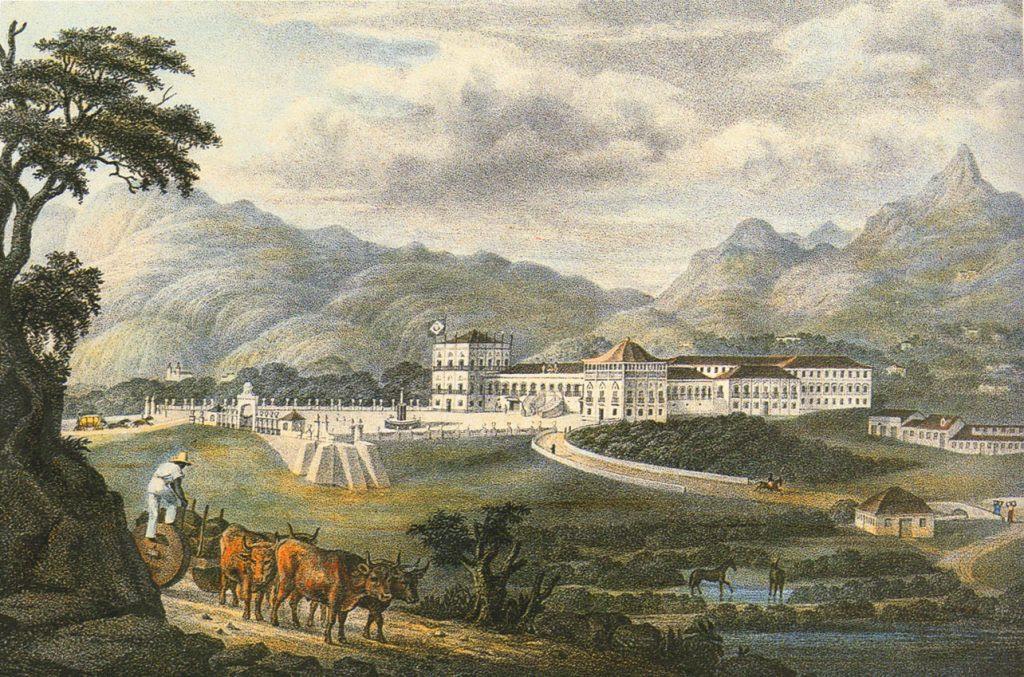 Vista da Quinta da Boa Vista, com o Paço de São Cristóvão, em meados do séc. XIX