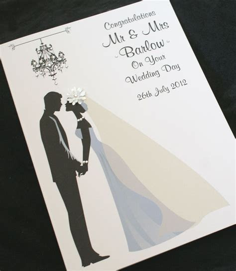 LARGE Handmade Personalise BRIDE & GROOM Congratulations