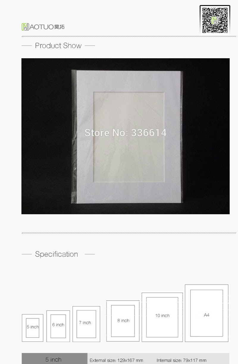 2019 Haotuo Acid Free Bevel Cut White Photo Mounts Fit 8x10 Photo Or