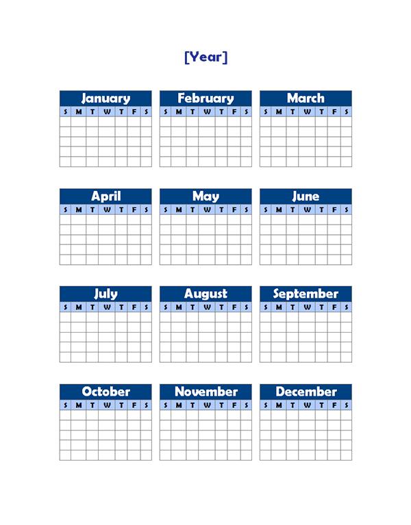 Yearly Blank Calendar Potrait - Free Printable Templates
