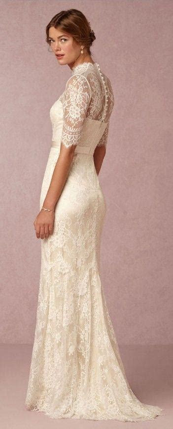 D276 Lace Top High Neck Half Sleeve Wedding Dresses, Lace
