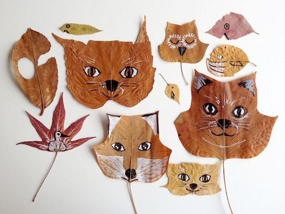 рисовать на листьях
