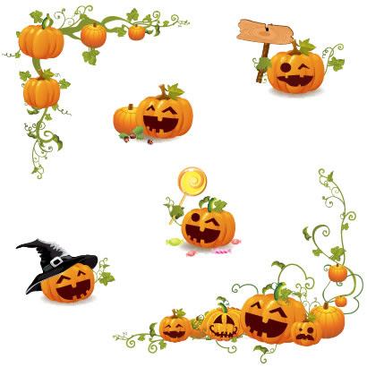 ハロウィンかぼちゃコーナーフレーム飾りのイラストaieps ベクター