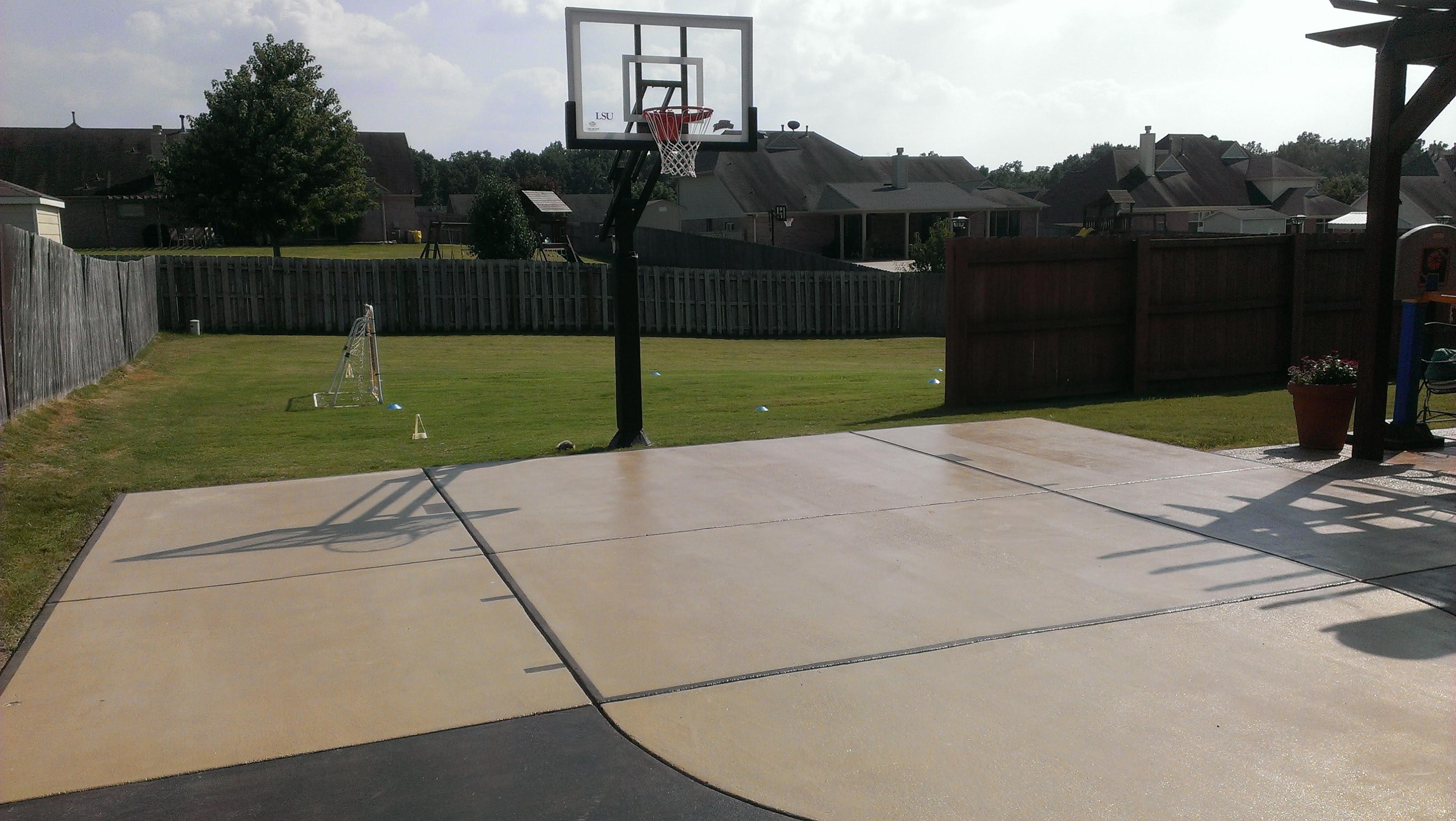 Nice Backyard Concrete Slab For Playing Ball