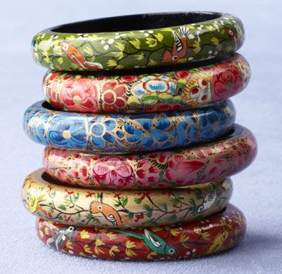 Papier Mache Bangles Set: Handpainted in India, no two sets are identical $30.