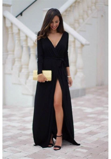 Black maxi dress with long sleeves and leg slit   Farrah