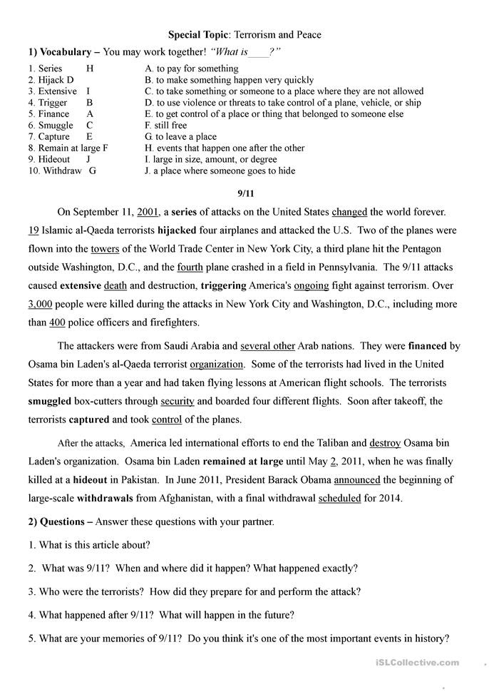 Conversation lesson on 9/11, Terrorism, and Peace worksheet - Free ...
