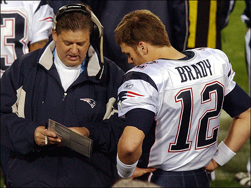 Brady conferred with offensive coordinator Charlie Weis on the sideline.
