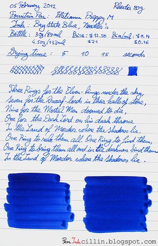 Noodler's Baystate Blue on Rhodia