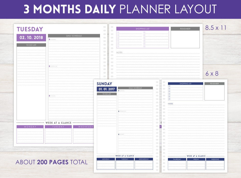 3-Month Daily Planner Pages by PurpleTrail on Etsy