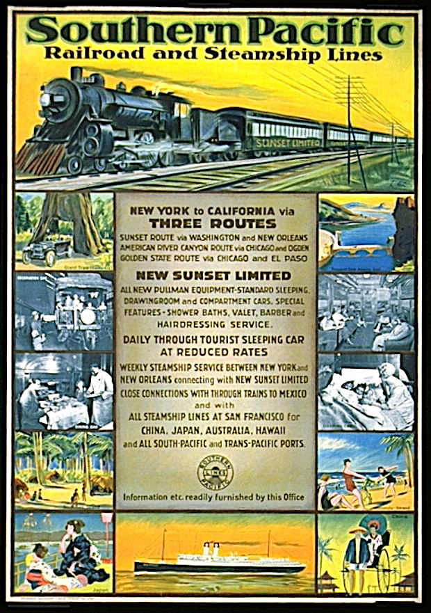 Southern Pacific Railroad and Steamship Lines Poster