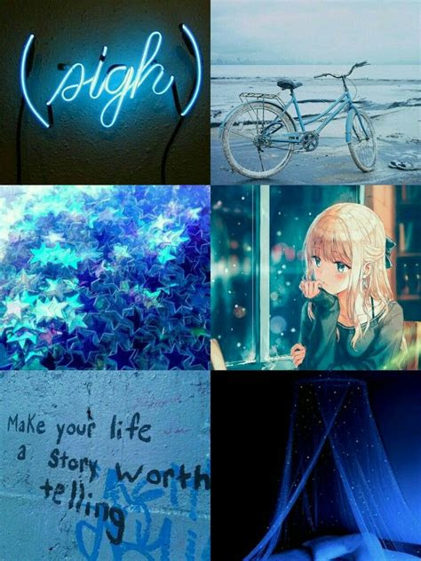 blue aesthetic mood board blue mood board blue anime mood