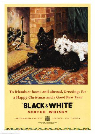 vintage Christmas advertisement for Black & White Scotch Whiskey