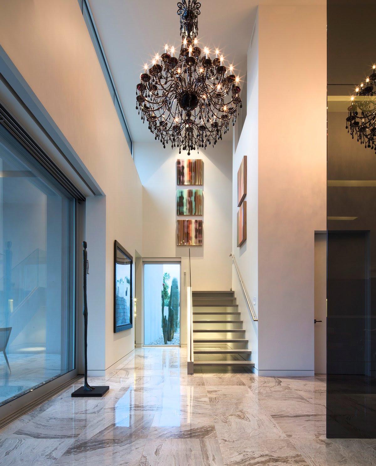 Modern Stairs, Hallway, Dark Chandelier, Mid-Century ...