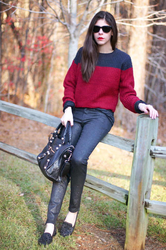 J Brand Glitter Jeans, Balenciaga Arena Giant City handbag, Two Tone Isabel Marant inspired Fashion Outfit