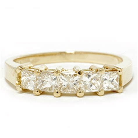 1ct Princess Cut Diamond Anniversary 14K Yellow Gold Ring