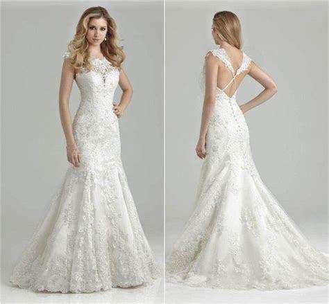 Cheap Lace Open Keyhole Back Mermaid Wedding Dress V Neck