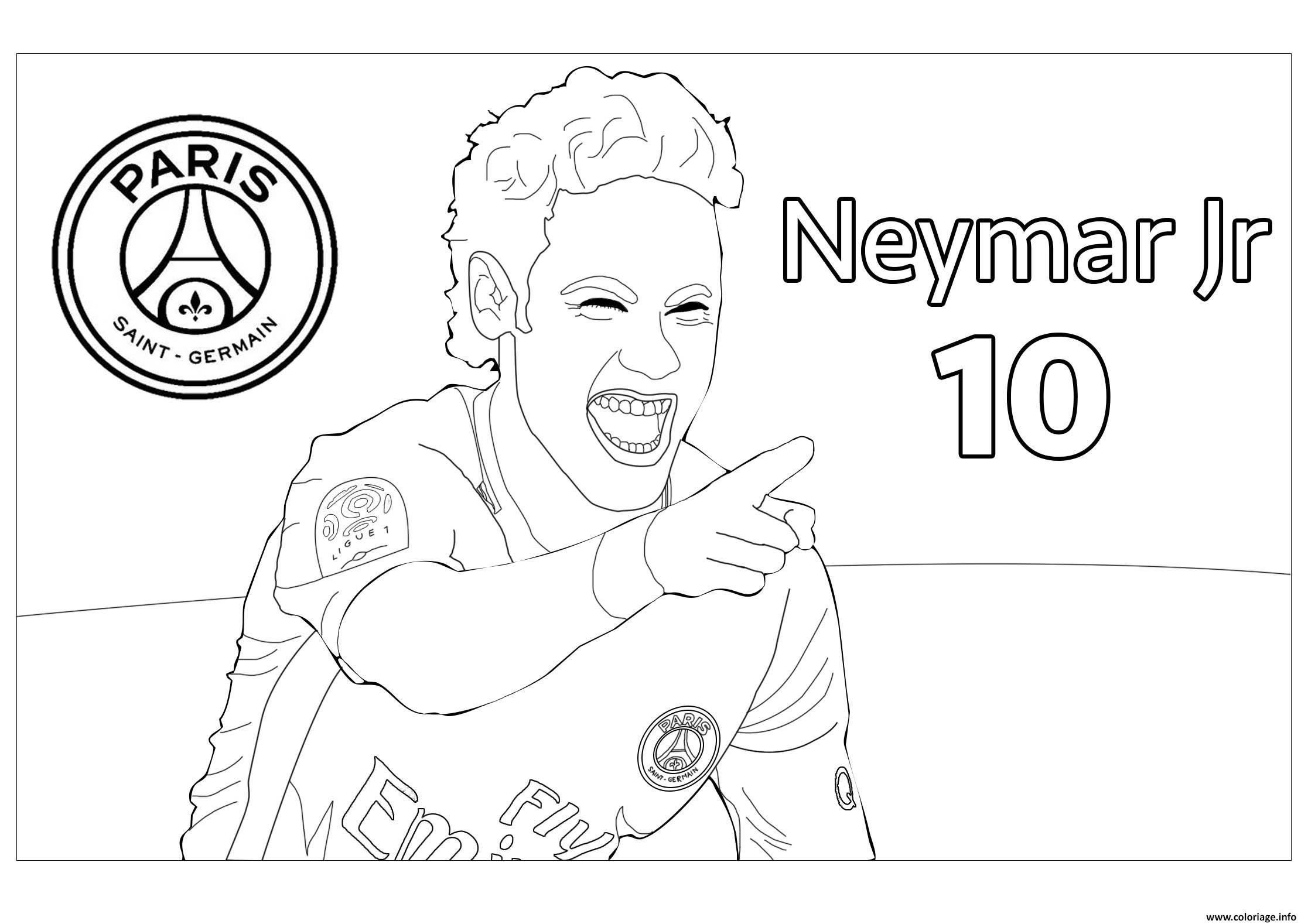 Coloriage Joueur De Foot Neymar Jr Psg Jecoloriecom