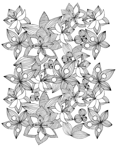 Blooming Canvas to Color Contemporary line art of flowers and leaves against a white background.