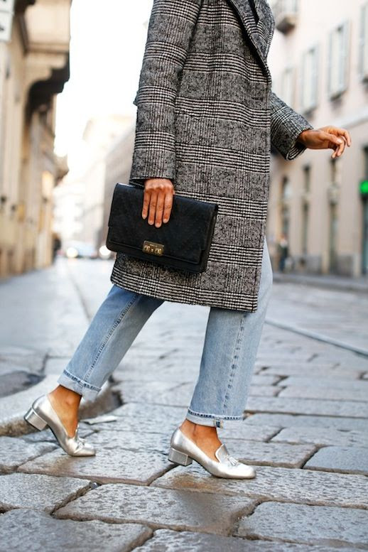 Le Fashion Blog Long Black And White Patterned Coat Blouse With Ribbon Black Clutch Mih Vintage Denim Metallic Chunky Heeled Loafers Via All The Pretty Birds