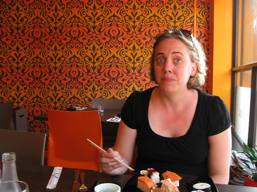Val, surprised by Irish sushi