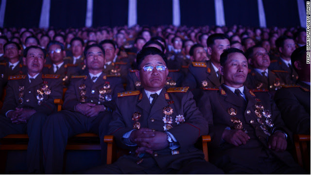 North Korean military personnel watch a performance in Pyongyang on April 16, 2012.