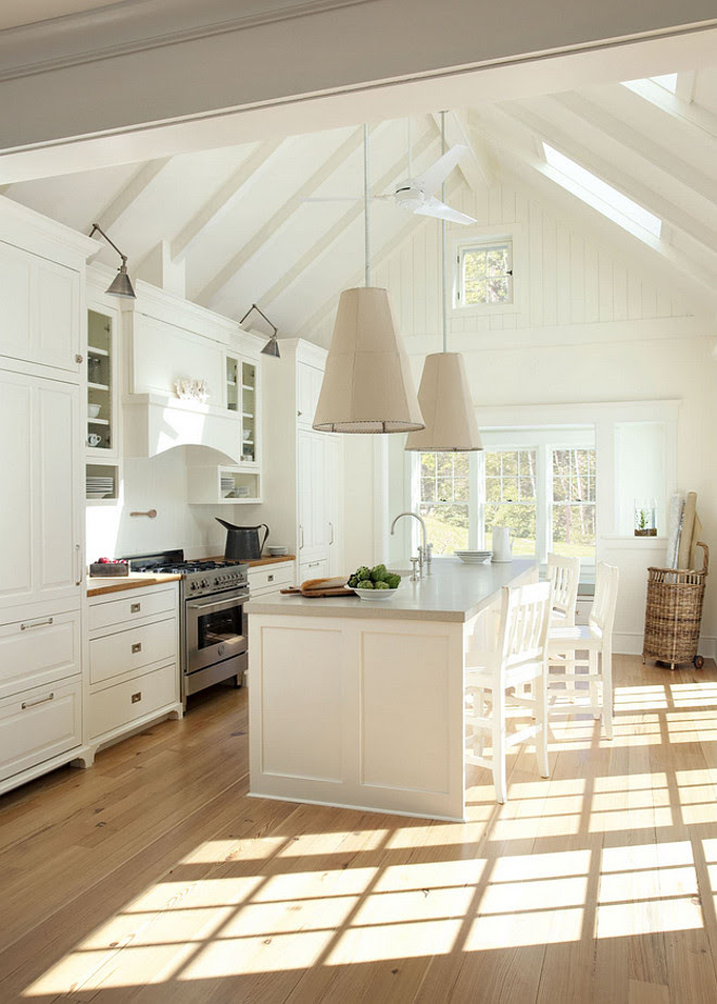 Cathedral Ceiling Kitchen. Kitchen Cathedral Ceiling. Coastal white kitchen with cathedral ceiling. #Kitchen #CathedralCeiling #KitchenCathedralCeiling #Cathedralceilingkitchen Lisa Tharp Design.