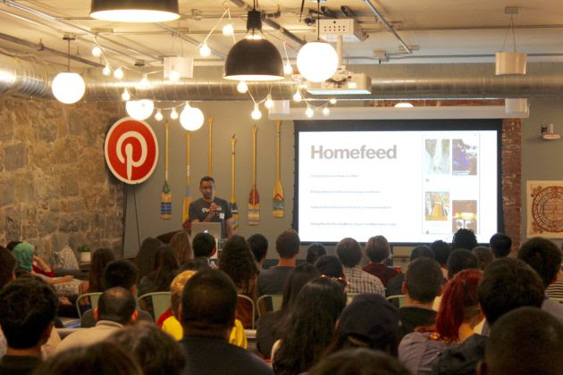Narasimhan gives a quick talk on the engineering behind Pinterest's home feed algorithms.